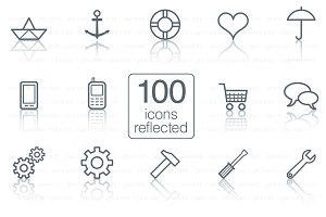 100 icons reflected
