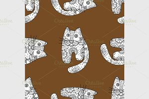 Seamless pattern of cats