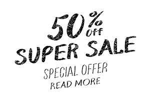 super sale 50% written with a brush