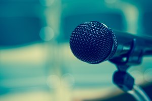 Closeup Microphone on