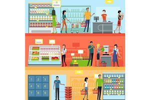 People in Supermarket Interior