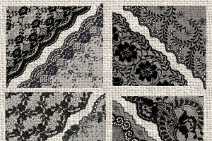 Black Lace PNG Corners