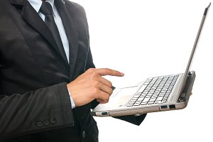 Businessman using the laptop
