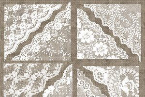 White Lace PNG Corners