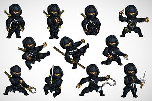 Ninja edit set in different poses
