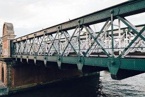Railway steel bridge over a river