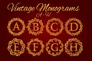 A - H letters vintage monograms pack