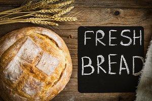 Fresh bread, rustic still life