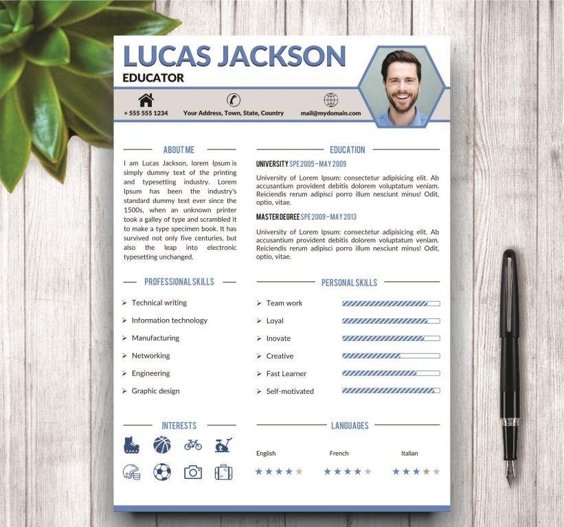 Stylish Resume Template For MS Word Templates Creative Market