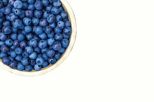 Bowl of picked blueberries