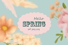 Hello Spring. Flower clipart