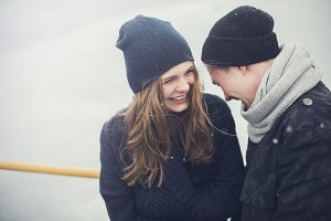 laughing couple on a winter day