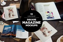 Square Magazine Mockups-Café Edition