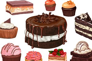 27 Hand-drawn vector cakes set.