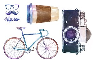 Vintage watercolor elements (set 3)