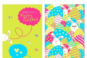Greeting card with bunnies and eggs