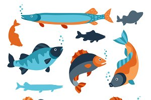 Various stylized fish.