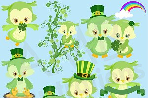St. Pats Day Owls Clipart, AMB-1185