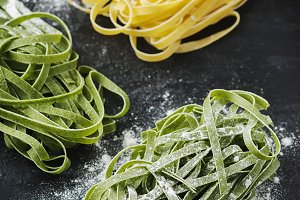 Uncooked green pasta