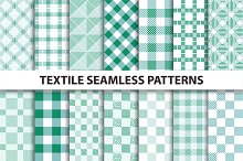Green Textile Seamless Patterns.