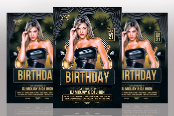 birthday flyers template flyer templates creative market