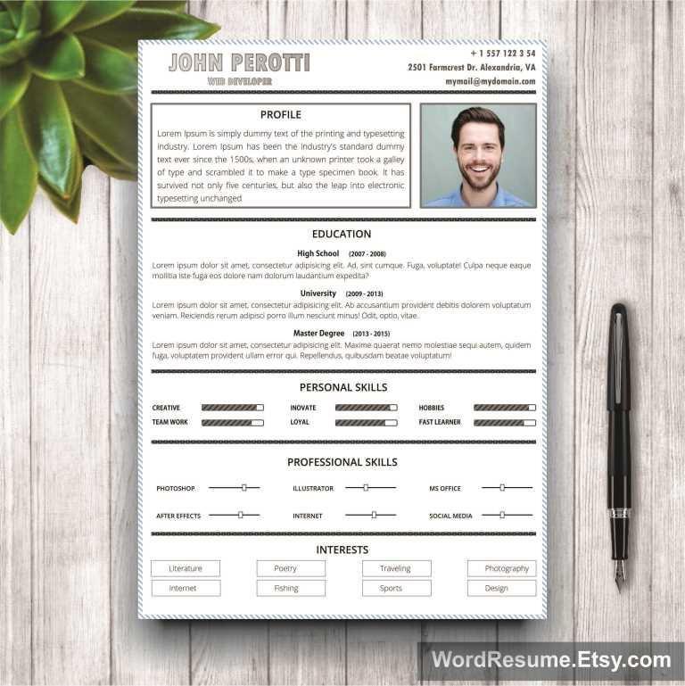 Creative Modern Resume Template Resume Templates Creative Market – Portfolio Word Template