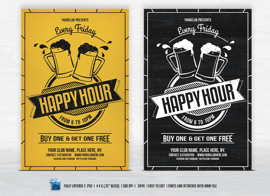 Happy Hour Flyers Flyer Templates Creative Market - Buy flyer templates