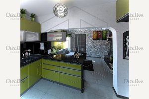 Minimalist kitchen unit in green