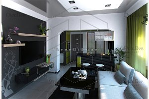 Living room and kitchen, 3D render