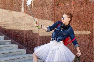 Ballerina hipster. Selfie.