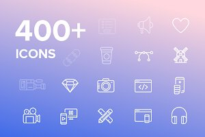 400+ Vector Icons pack, UI, Media