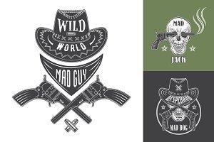 Cowboy emblems set
