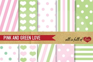 Pink Green Background Paper Pack