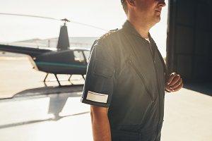 Professional pilot in uniform