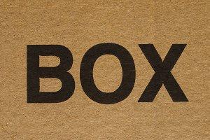 Box label on cardboard