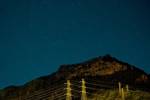 Powerlines in El Chorro at night