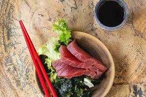 Sashimi Tuna with soy sauce