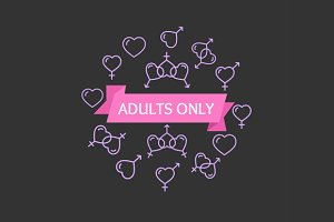 Adults Only Sign. Vector