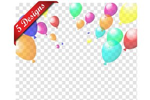 5 Transparent Colorful Balloons