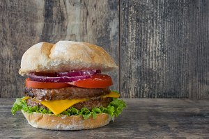 Rustic homemade burger