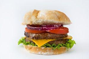 Homemade burger. Isolated photo