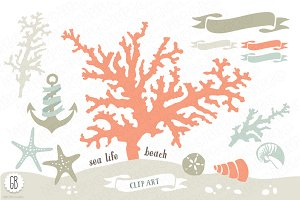 Beach sea corals nautical 01