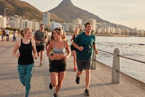 Fit young runners training