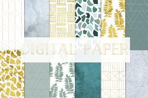 digital paper gold and green