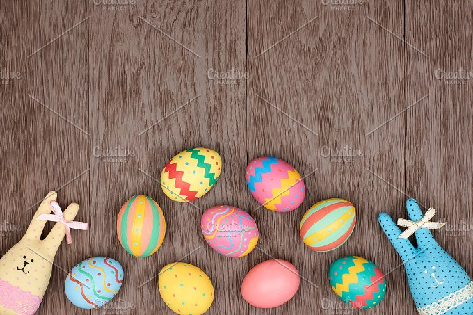 Easter eggs hand painted rabbits wood background - Painted wooden easter eggs ...
