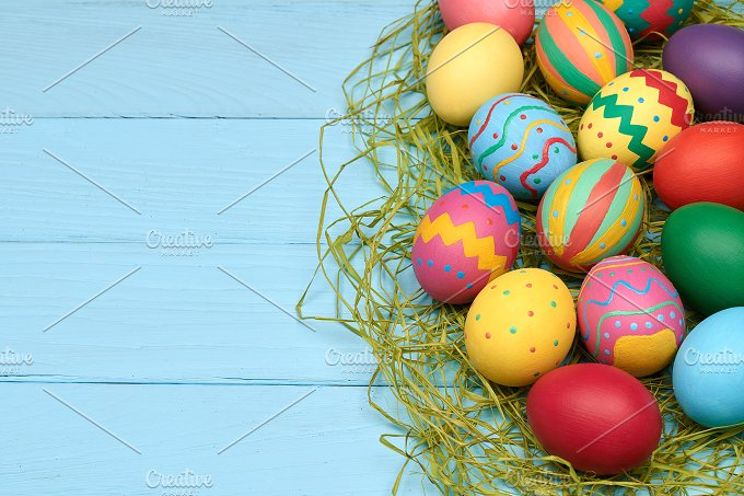 Easter Eggs Hand Painted Colorful Wood Background