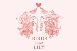 Vintage lily flowers and love birds