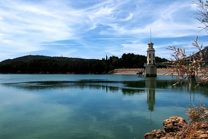still water lake and tower