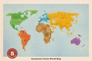 Geometric Vector World Map