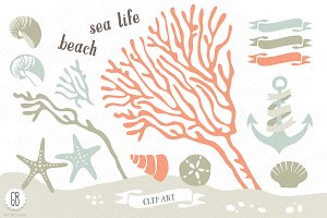 Beach sea corals nautical 06